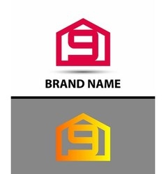Number 9 logo logotype design with house vector image