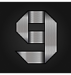 Number metal chrome ribbon - 9 - nine vector image