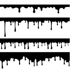 Paint dripping black liquid or melted chocolate vector