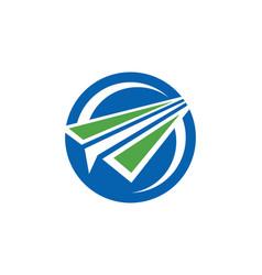 Paper plane round logo vector