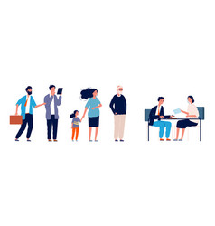 People in queue long wait reception adults kids vector
