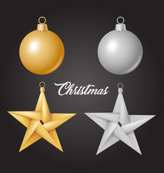 Realistic christmas tree toy ball star vector