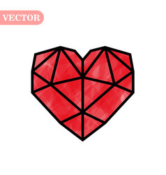 Red heart symbol valentine day love polygon vector