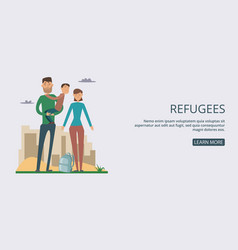 Refugees banner horizontal man cartoon style vector