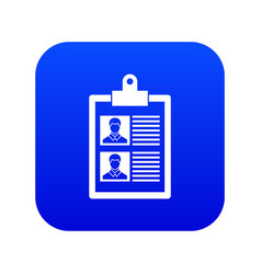 Resume of two candidates icon digital blue vector