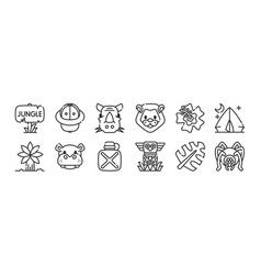 Set 12 thin outline icons such as spider totem vector