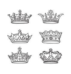 Set crowns icons vector