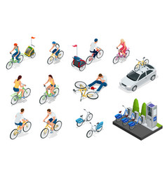 set cyclists car with bike holder bicycle vector image