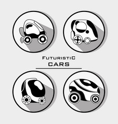 set futuristic car with modern elements vector image