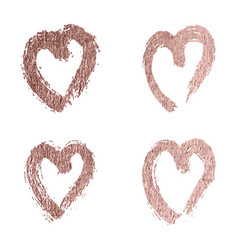set hearts rose gold foil glitter icon vector image