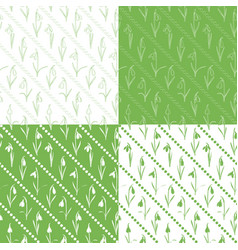 set seamless patterns with snowdrops vector image