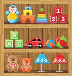 Shelfs with toys vector image