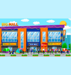 Shopping mall line people waiting for sale vector
