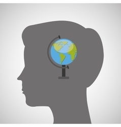 Silhouette head boy globe education online vector