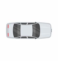 Silver car top view vector