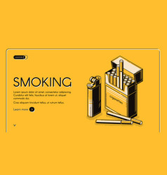 smoking activity landing banner cigarettes package vector image