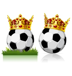 Soccer ball with a golden crown vector