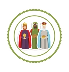 Sticker border with the three wise men vector