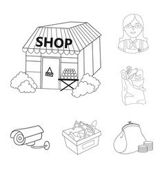 supermarket and equipment outline icons in set vector image