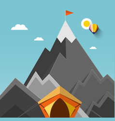 tent with mountains on background with flag on vector image