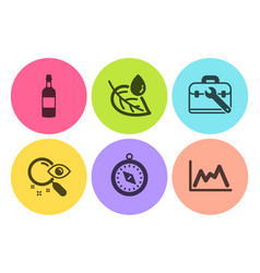 Travel compass search and leaf dew icons set vector