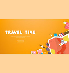 Travel time horizontal advertising banner on vector