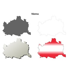 Vienna blank detailed outline map set vector