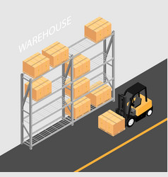 Warehouse interior with shelves pallets forklift vector
