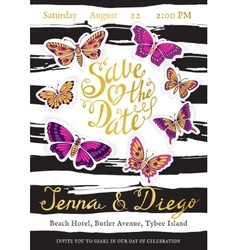 Wedding invitation cards with butterflies and vector image