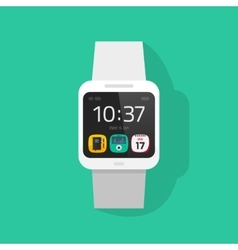 White smart watch clock vector
