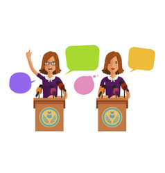 woman speaks from podium tribune business vector image