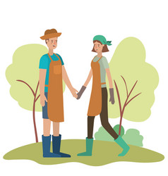 Young couple in landscape avatar character vector