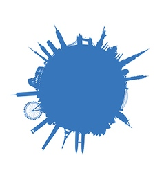 blue round cityscape vector image vector image