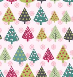 Christmas pattern - Xmas trees and snowflakes vector image