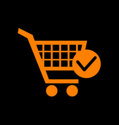 shopping cart with check mark sign orange icon on vector image