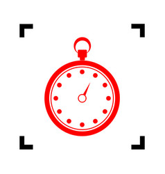 stopwatch sign red icon vector image
