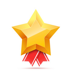 3d gold star medal and red ribbon vector image
