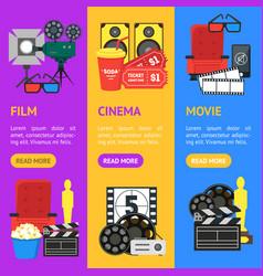 cartoon cinema color banner vecrtical set vector image