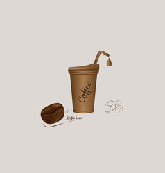 iced coffee with bean icon design vector image vector image
