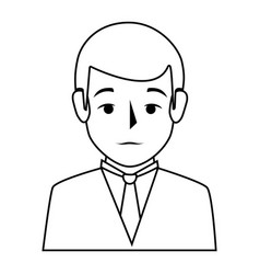 silhouette half body man formal style vector image