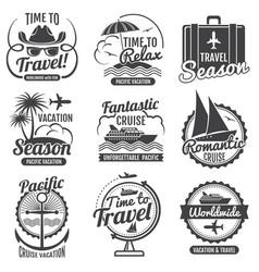 travel adventure vintage labels and emblems vector image vector image