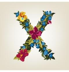 X letter Flower capital alphabet Colorful font vector image