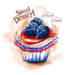 dessert logo design template cake or fresh vector image vector image