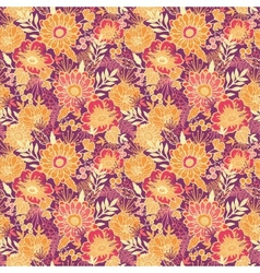 Fall flowers and leaves seamless pattern vector image