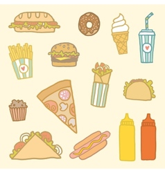 Fastfood cartoon set vector image vector image