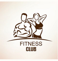 fitness symbol outlined sketch emblem or label vector image