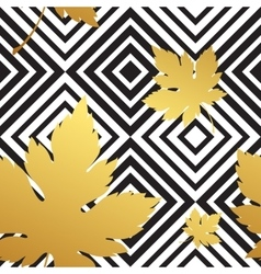 Geometric seamless leaf repeat pattern in black vector image vector image
