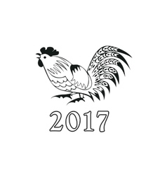 Monochrome cock in a folk style vector image vector image