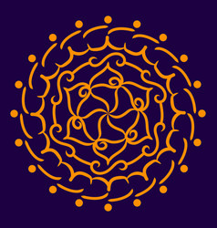 orange mandala on a dark blue background vector image