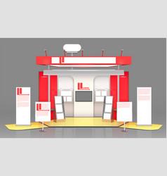 Red exhibit display case design vector